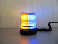 Проблесковый маячок LED1-18 сине- желтый на магните , 12-24В., фото 1