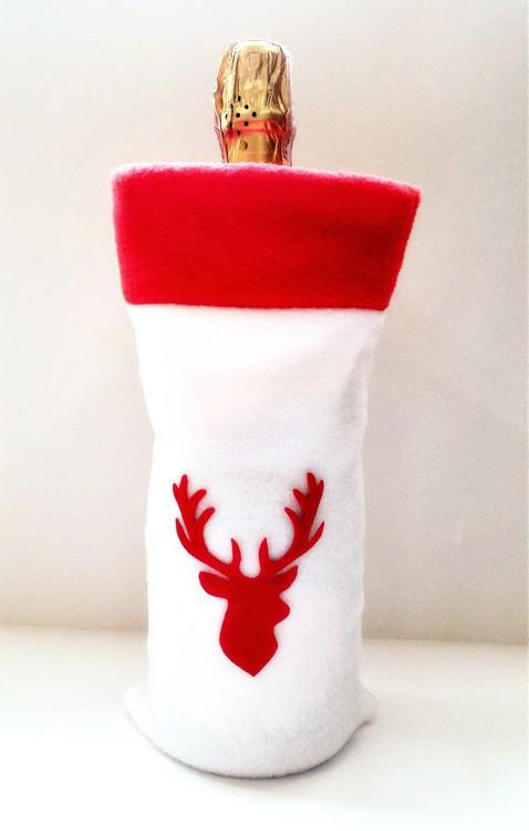 Новогодний мешок для бутылки Олень белый чехол на бутылку набутыльник