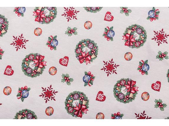 Скатерть новогодняя гобеленовая 137 х 180 см скатертина різдвяна новорічна гобеленова, фото 2