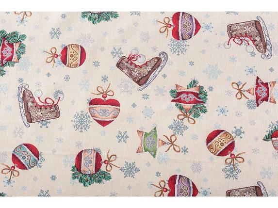 Скатерть новогодняя круглая тканевая гобеленовая 140 см скатертина новорічна гобеленова, фото 2