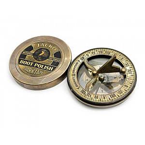 Солнечные часы с компасом бронзовые (d-8,5,h-2,1 см) ( 23473)