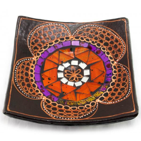 Блюдо терракотовое с мозаикой (15х15х3 см). ( 30271)