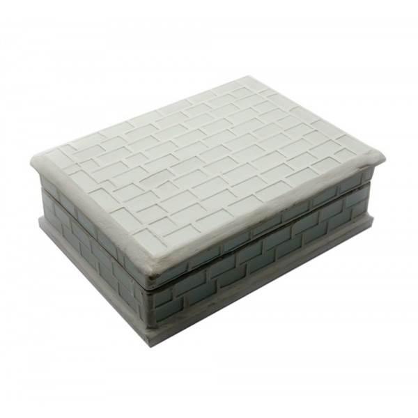 Шкатулка для украшений с мозаикой белая (18,5х13,5х6 см) ( 24259)