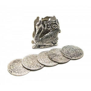 "Подстаканники ""Лебедь "" (н-р 6 шт) металл (9х8,5х4,5 см)(Непал) ( 25923)"