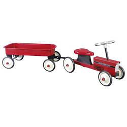 Толокар goki Трактор с тележкой красный 14148G