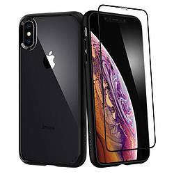 Чехол + стекло Spigen для iPhone XS Max Ultra Hybrid 360 Black