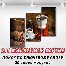 Картина модульная Кофе из турки на Холсте, 100х110 см, (70x35-3), фото 2