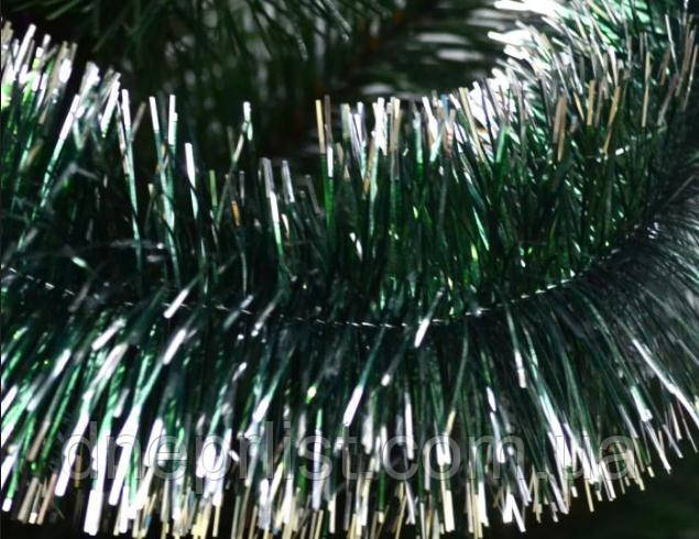 Мишура 10 см, зеленая + серебро, 2,75 м