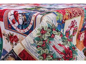 Скатерть праздничная новогодняя гобеленовая 180 х 137 см, фото 2