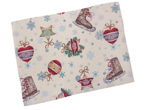 Салфетка под тарелку тканевая гобеленовая новогодняя 34 х 44 см новорічна серветка серветки, фото 2