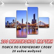 Модульна картина Манхеттенський міст на ПВХ тканини, 70x110 см, (25x25-2/65х25-2), фото 2