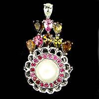 Кольцо с натуральным Жемчугом, Турмалинами иРубинами, фото 1
