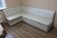 Угловой диван на кухню в качественном кожзаме (Жемчужный)