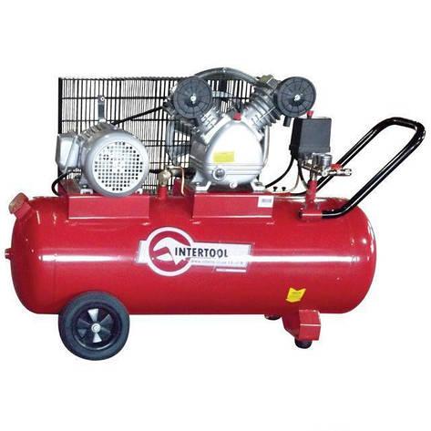 Компрессор 100л, 4HP, 3кВт, 380В, 8атм, 500л/мин, 2 цилиндра Intertool PT-0013, фото 2