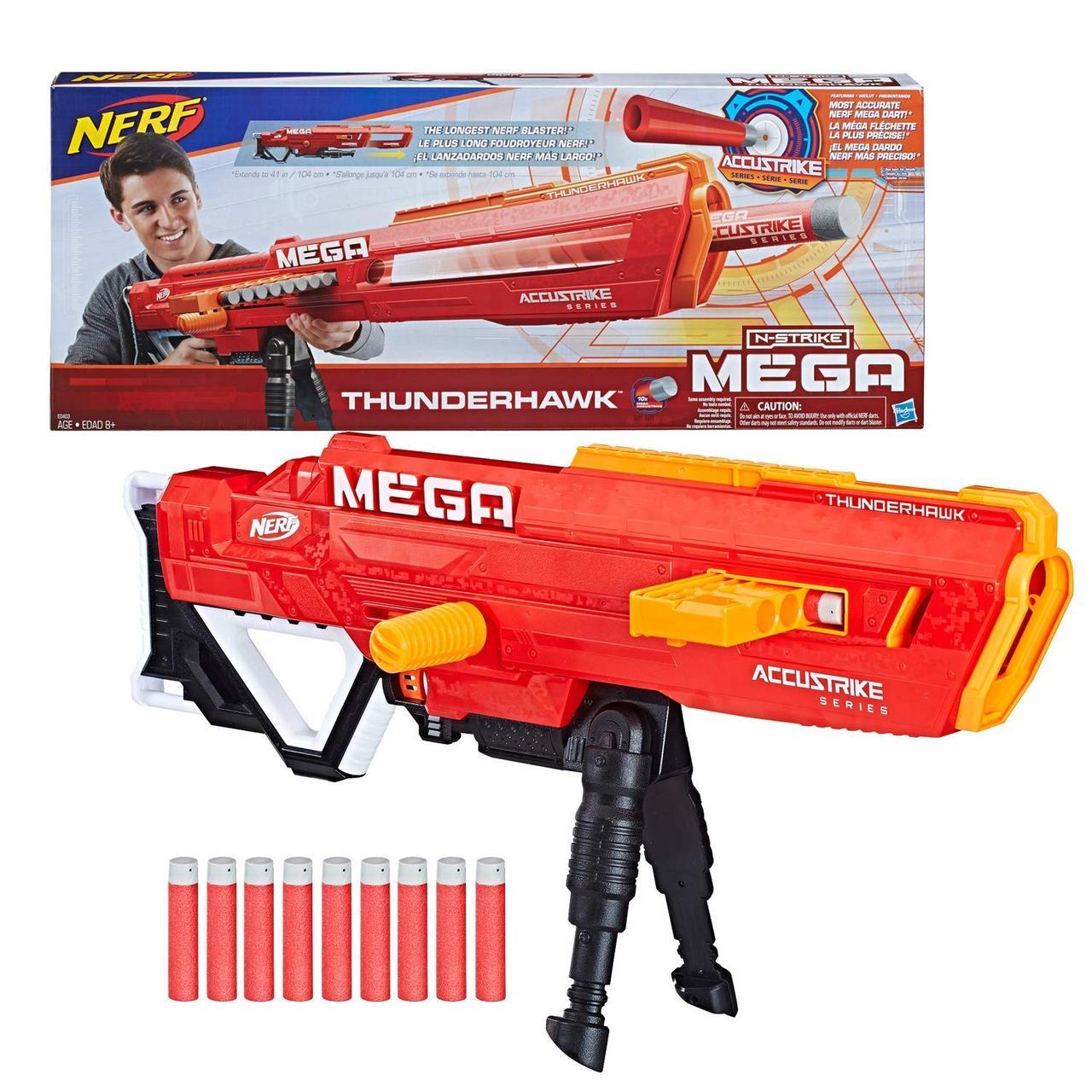 Бластер Нёрф Мега Акьюстрайк, самый длинный и точный бластер, Nerf Mega AccuStrike из США