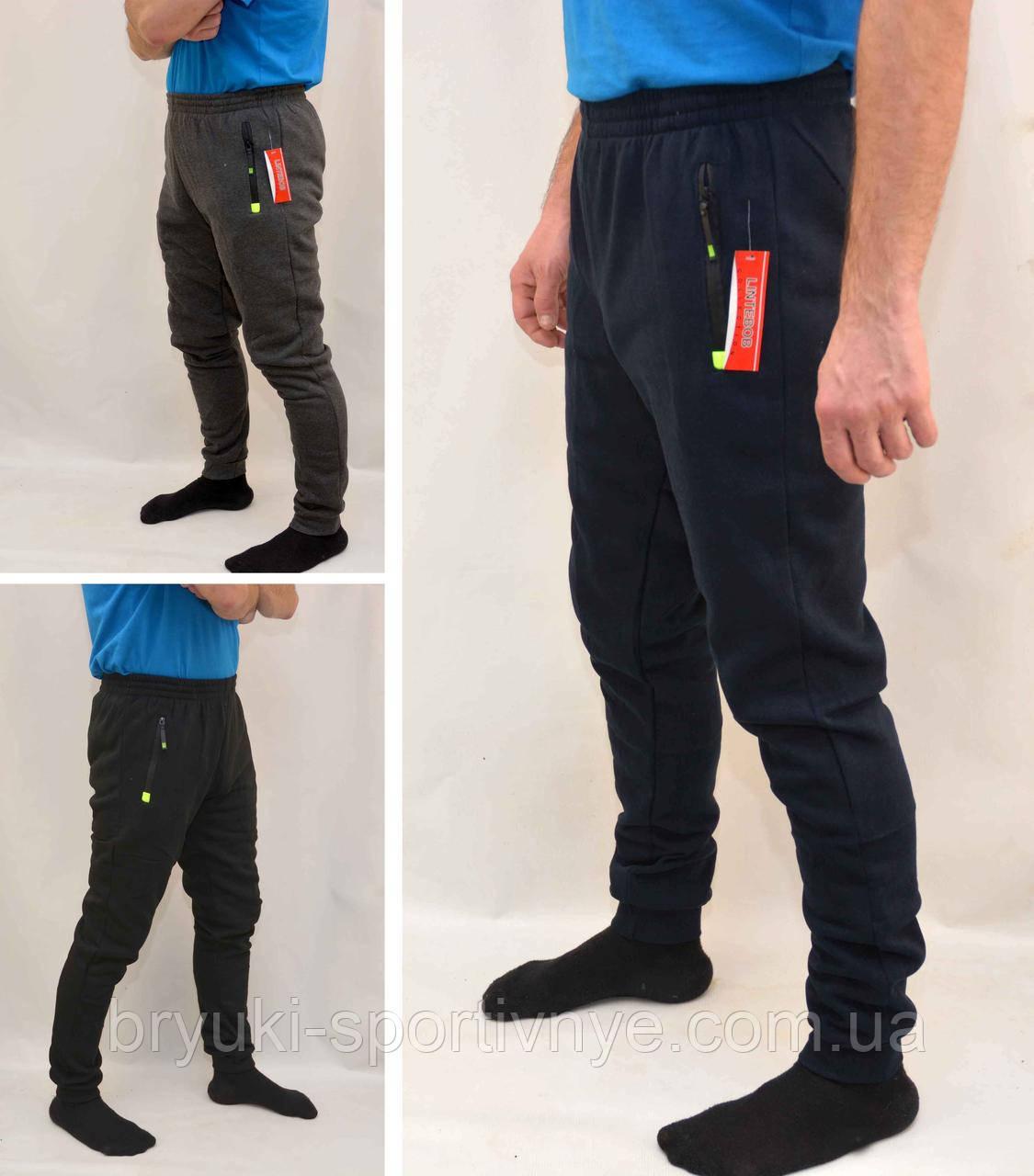 Брюки спортивные зимние мужские под манжет - карманы на молнии М Черный
