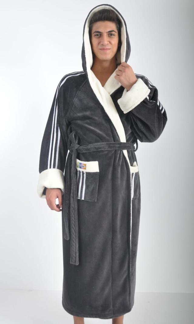 Купить Мужской тёплый халат с капюшоном Adidas