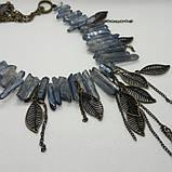 """Колье """"Голубой Кварц с титановым покрытием и бронза"""", фото 4"""