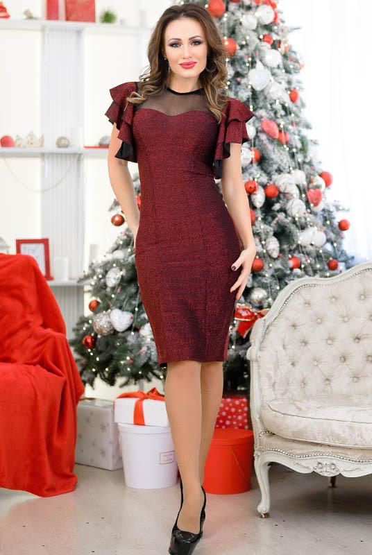 Бордовое платье с люрексом Флорис
