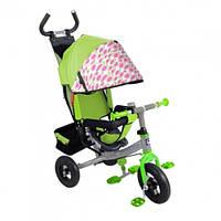 Велосипед 3-х колес зеленый  надувные колеса,съемная ручка,страховка, складная подножка