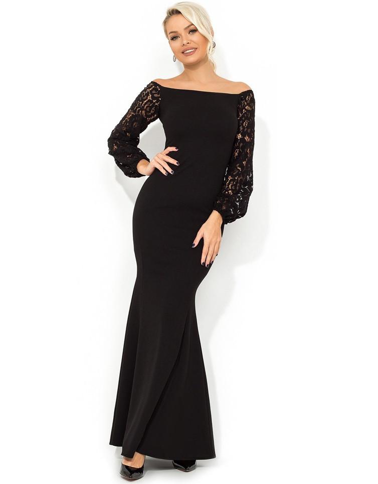 17a04fd2a344 Платье в пол покроя-русалка черное Д-1684