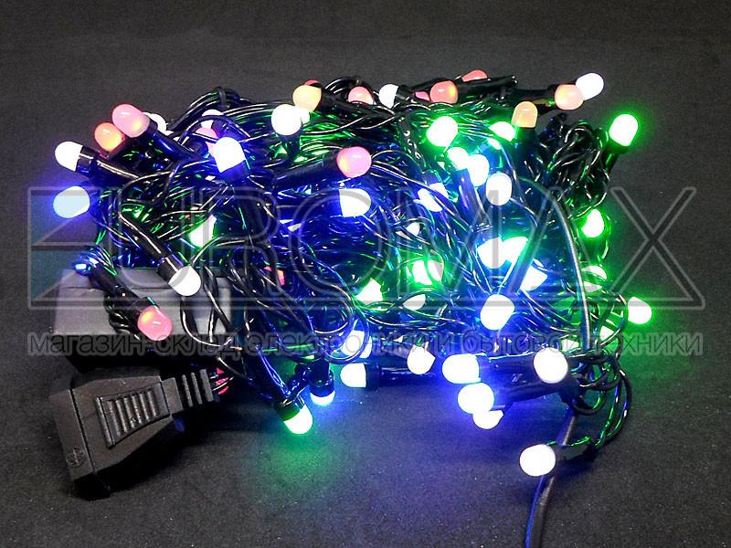 Гирлянда Дождик черный провод 3,3мм с вилкой и круглой матовой лампой 120LED (микс) 60шт 120-SHORT-C