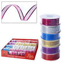 Декоративная лента Магічна - Новорічна 2.7м*2.5cм, в упаковке 48шт, разные цвета, упаковочная бумага и ленты, лента