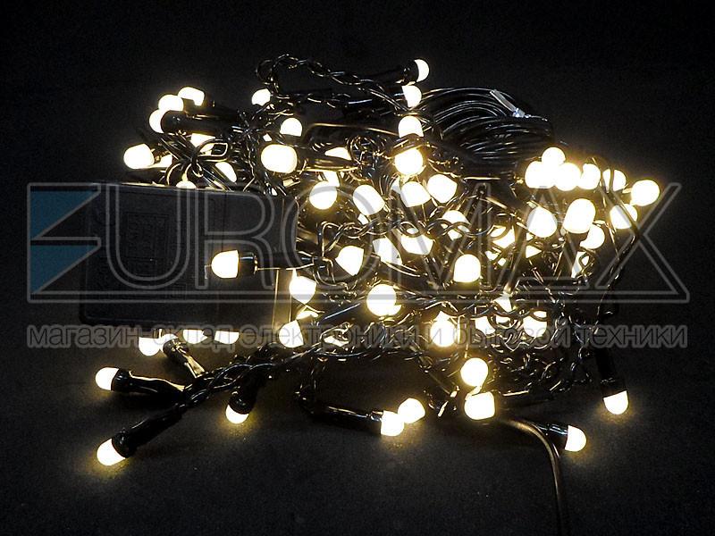 Гирлянда Дождик черный провод 3,3мм с вилкой и круглой матовой лампой 120LED (теплый белый) 120-SHORT-CURTAIN-3M-WW-3