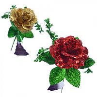 """Декор """"Цветок"""" 9004 пластик, два цвета (красный,золотистый), 17см, украшение цветы, украшение для дома"""