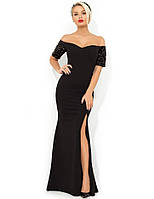 Черное вечернее платье в пол с высоким разрезом Д-1686