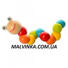Деревянная игрушка Гусеница арт 1096  17,5 см, в кульке, 17,5-3-3 см