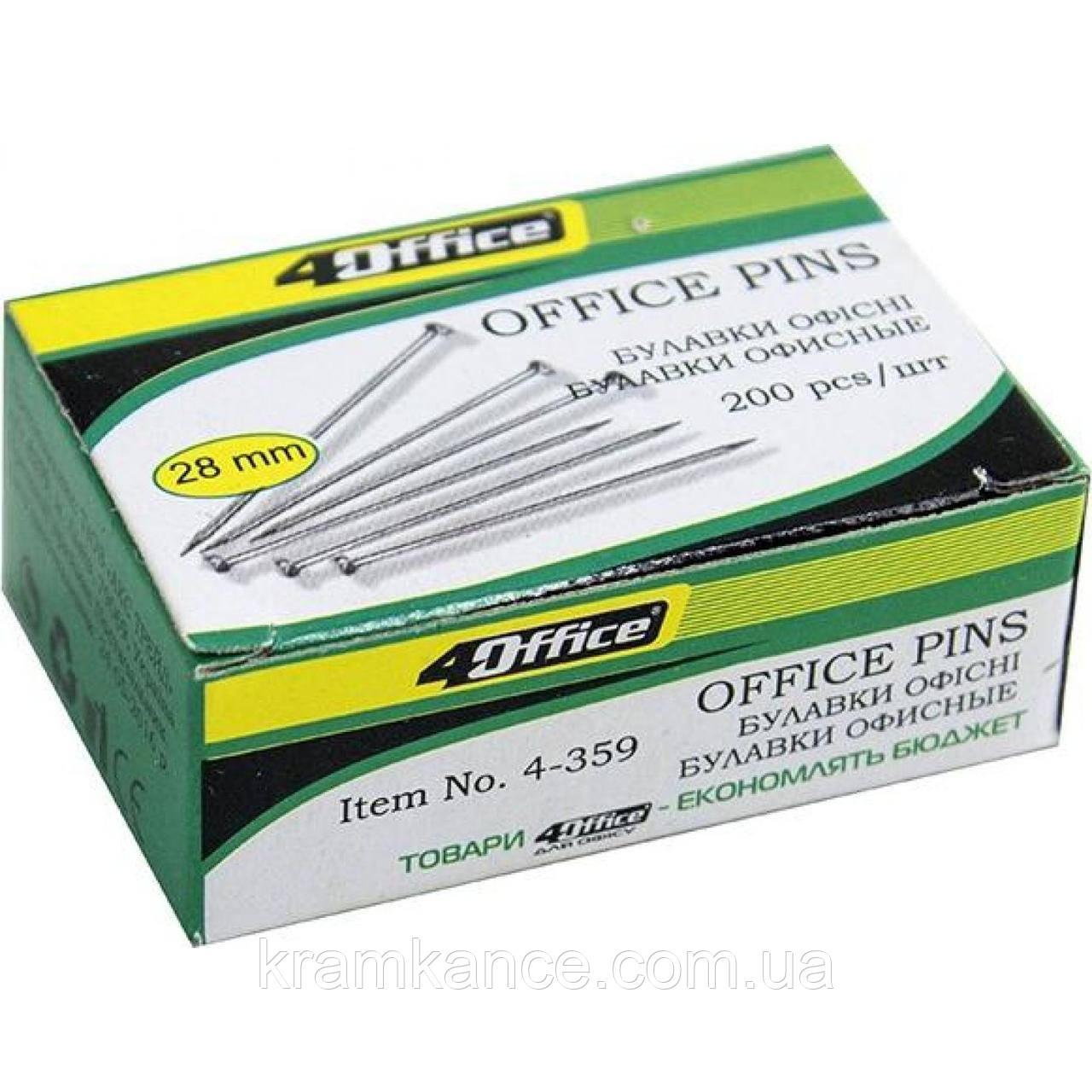 Булавки офісні 4Office 20шт  4-359
