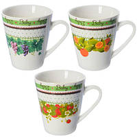 (Цена за 12шт) Чашка MC-2257 фарфор, 375мл, в наборе 12шт, белая с рисунком, чашки, кружка, посуда, столовая