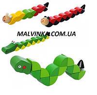 Деревянная игрушка Змейка арт 1194  в кульке, 20-2-3 см