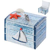 """Шкатулка МДФ """"Морская"""" N00633 голубой, 6*8см, шкатулка для хранения, шкатулка для хранения украшения, шкатулочка женская"""