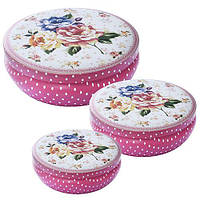 Набор коробок для хранения N01800, металл, круглая, в наборе 3шт, розовый, ящик для хранения, корзина, ящик, коробки для хранения, коробки