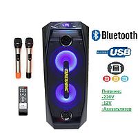 Аккумуляторная колонка с микрофонами Mega Bass TMS-802 / 150W (USB/FM/Bluetooth), фото 1