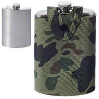 Фляга сувенирная R86723 зеленый, 260мл, нержавеющая сталь / искусственная кожа, фляги, подарочные фляги, фляжки, набор с флягой