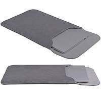 Чехол-конверт для Macbook и ноутбуков Bestjing Space Gray кожаный темно-серый