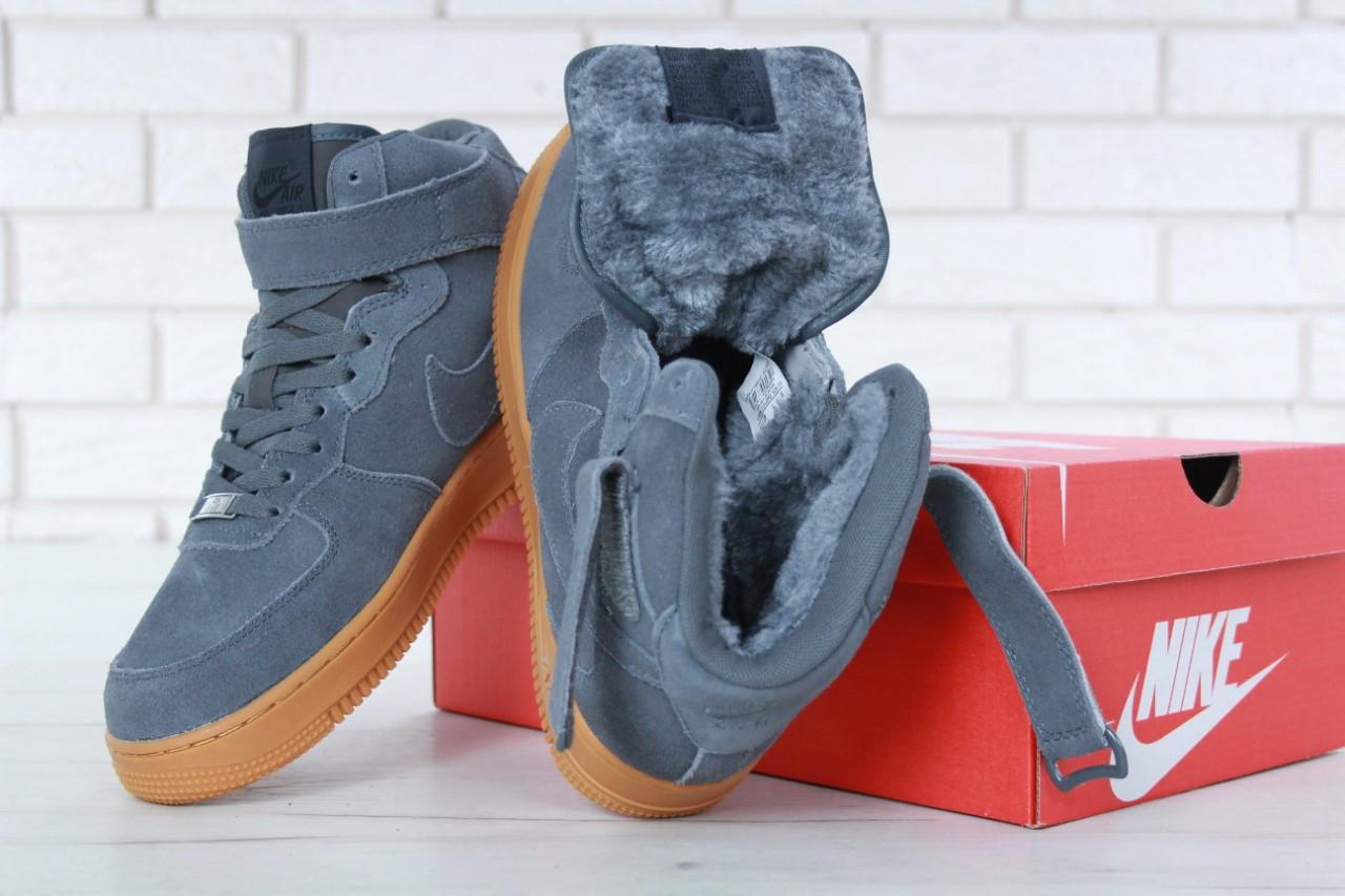 038fa84f ... Кроссовки с мехом Nike Air Force 1 High Dark Gray Suede Winter, ...
