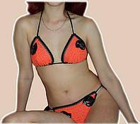 Вязаный купальник-бикини с вышивкой бисером