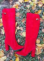 Сапоги красные натуральная замша
