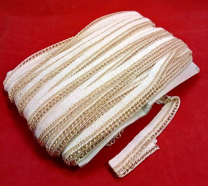 Лента декор С708 цепь золото белый
