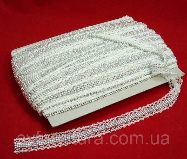 Лента декор СА154 цепь серебро белый