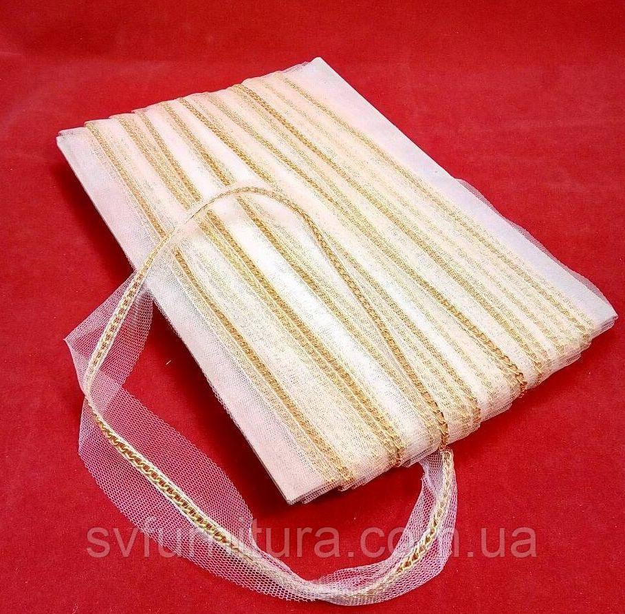 Лента декор СА96 цепь золото белый
