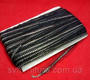 Лента декор СА99 цепь никель черный