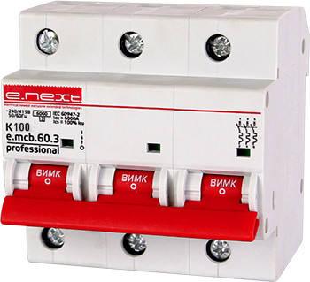 Модульный автоматический выключатель e.mcb.pro.60.3.K 100 new, 3р, 100А, K, 6кА new