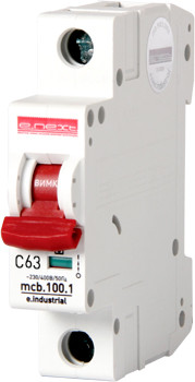 Модульный автоматический выключатель e.industrial.mcb.100.1.C63, 1 р, 63А, C,  10кА