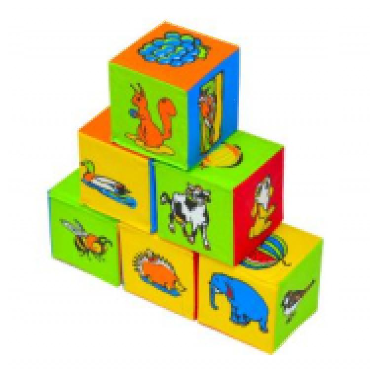 """Кубики мягкие """"Животный мир"""" 6 шт."""