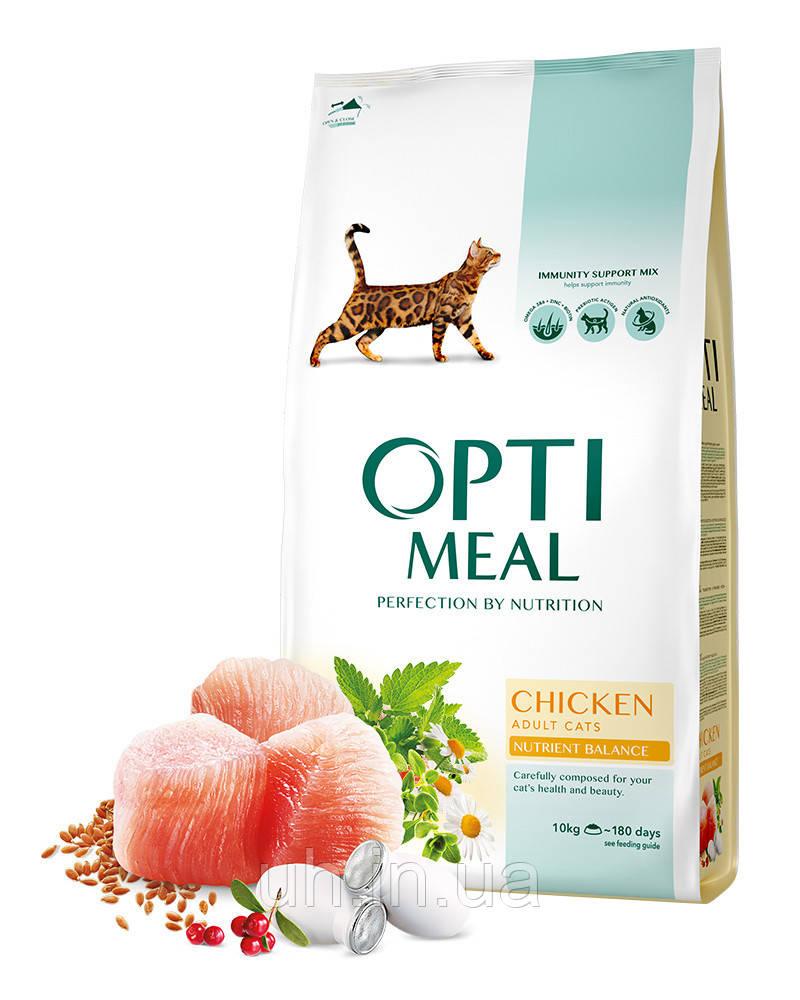 Optimeal (Оптимил) сухой корм для взрослых котов с курицей 10КГ